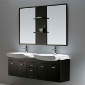 Vigo 59-inch Double Bathroom Vanity with Mirrors and Shelves