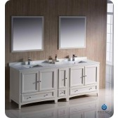 """Fresca Oxford 84"""" Traditional Double Sink Bathroom Vanity w/ One Side Cabinet - Antique White"""