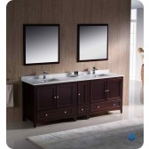 "Fresca Oxford 84"" Traditional Double Sink Bathroom Vanity w/ One Side Cabinet - Mahogany"