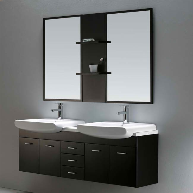 Vigo 59 Inch Double Bathroom Vanity With Mirrors And Shelves